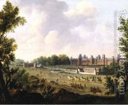 A View Of The Royal Palace Of Fontainebleau by (after) Hendrik Frans De Cort - Reproduction Oil Painting