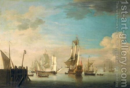 An English Two Decker Of 40 Guns, A Galliot And Other Shipping In A Calm Off A Pier by Charles Brooking - Reproduction Oil Painting