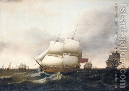 English Frigates In Pursuit Of Dutch Shipping by Dominic Serres - Reproduction Oil Painting