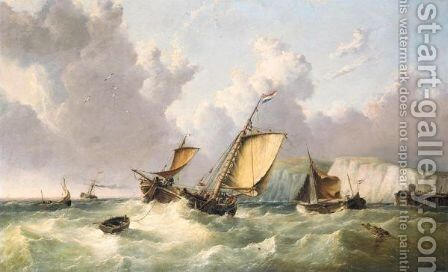 Dutch Shipping Off The Coast Of Dover by (after) William Calcott Knell - Reproduction Oil Painting