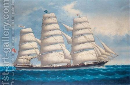The Ship Cortez At Sea by (after) Frederick Tudgay - Reproduction Oil Painting