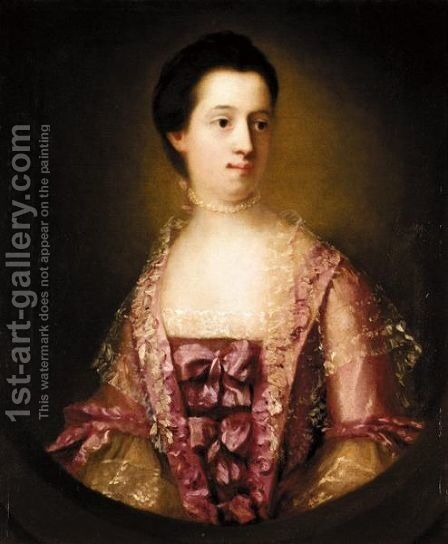 Portrait Of Mrs Mangin by (after) Francis Cotes - Reproduction Oil Painting