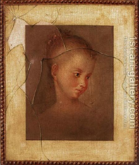 A Trompe L'Oeil Of A Young Girl Behind A Pane Of Broken Glass by English School - Reproduction Oil Painting