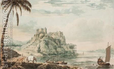The Fort Of Chunargar On The River Ganges, Near Benares, Seen From The West Side by Henry William Burgess - Reproduction Oil Painting
