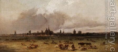 Cattle Grazing Near Oxford by (after) Alfred Vickers - Reproduction Oil Painting