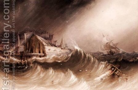 Stormy Coastal Scene by Henry Barlow Carter - Reproduction Oil Painting