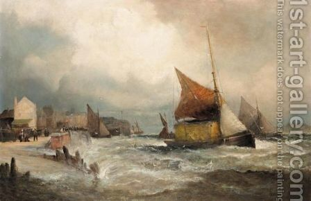 Fishing Boats Off The Coast In Heavy Seas by Hubert Thornley - Reproduction Oil Painting
