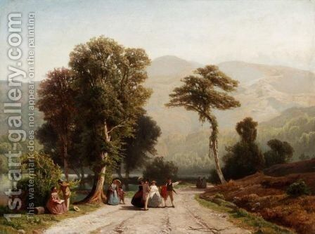A Summer Outing In An Alpine Landscape by Jacobus Nicolas Tjardan Van Starkenborgh - Reproduction Oil Painting