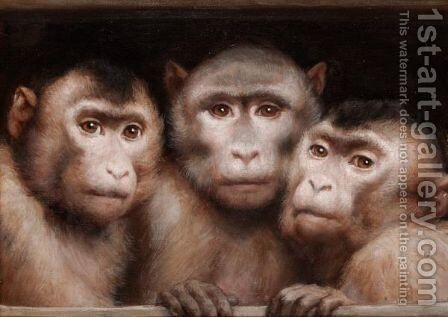 Three Monkeys by Gabriel Cornelius Ritter von Max - Reproduction Oil Painting