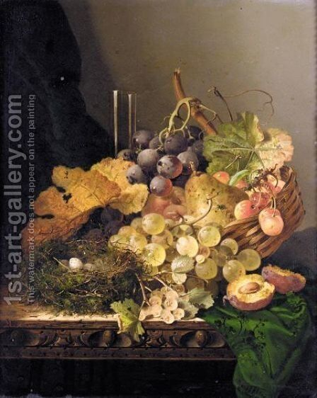 Still Life With A Bird's Nest, Pear, Grapes, Cherries And A Plum And A Glass Vase On A Ledge by Edward Ladell - Reproduction Oil Painting
