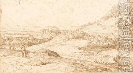 An Extensive Italianate Landscape With A Hunter, And A Distant Hilltop Castle by Jacob Esselens - Reproduction Oil Painting