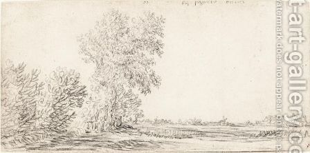 Landscape With A Row Of Trees And A Village In The Distance by Jan van Goyen - Reproduction Oil Painting