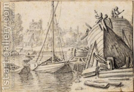 River Scene With A Ship Being Repaired On The Bank To The Right by Herman Saftleven - Reproduction Oil Painting