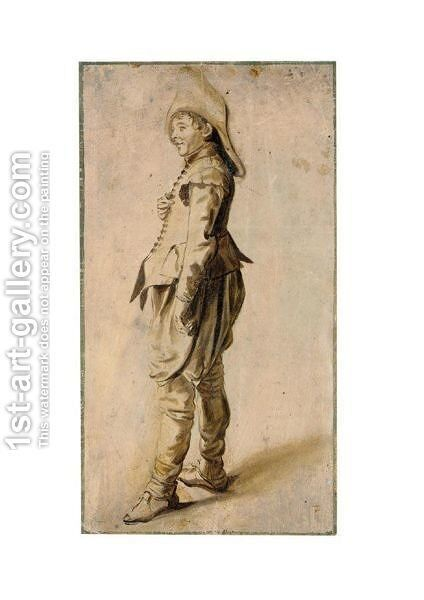Study Of A Standing Youth In A Hat by Dirck Hals - Reproduction Oil Painting