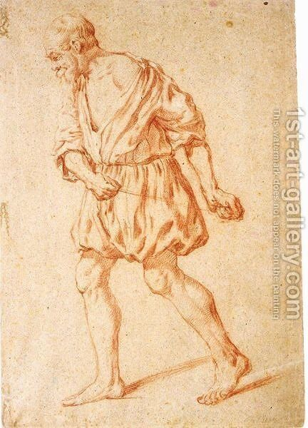 A Standing Bearded Man, Pulling A Cord by Jan De Bray - Reproduction Oil Painting