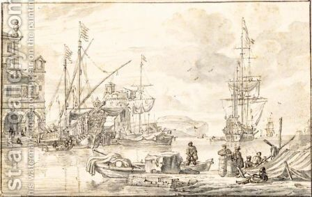 Capriccio Of A Mediterranean Harbour by Abraham Storck - Reproduction Oil Painting