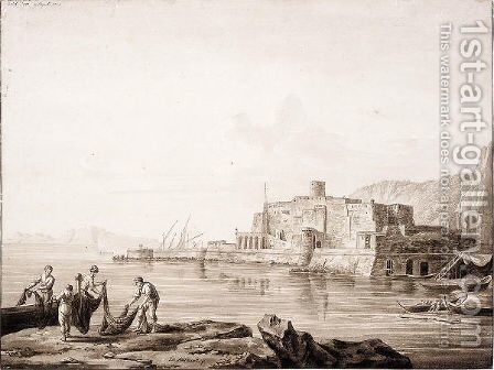 View Of The Castel Dell'Ovo At Naples, With Fishermen Handling Nets From Boats by Jakob Philippe Hackert - Reproduction Oil Painting