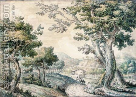 A Bosky Landscape With A Traveller And His Mule On A Road by (after) Jakob Philippe Hackert - Reproduction Oil Painting