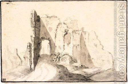 The Ruins Of A Castle by (after)  Jan Van Goyen - Reproduction Oil Painting