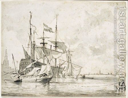 A Dutch Warship At Anchor, With Smaller Boats Moored Alongside by Jan Claes Rietschoof - Reproduction Oil Painting