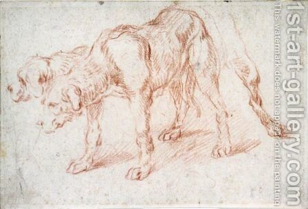 Study Of A Dog Standing In Profile To The Left, With Alternate Poses For His Head And Hind Legs by (after) Abraham Danielsz Hondius - Reproduction Oil Painting
