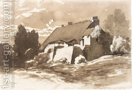 A Thached Cottage by Charles Donzel - Reproduction Oil Painting