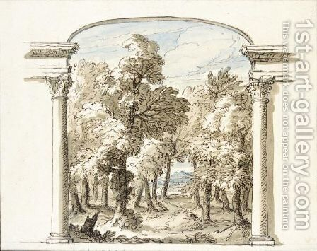 A Classical Landscape Seen Through An Arch by Sir James Thornhill - Reproduction Oil Painting