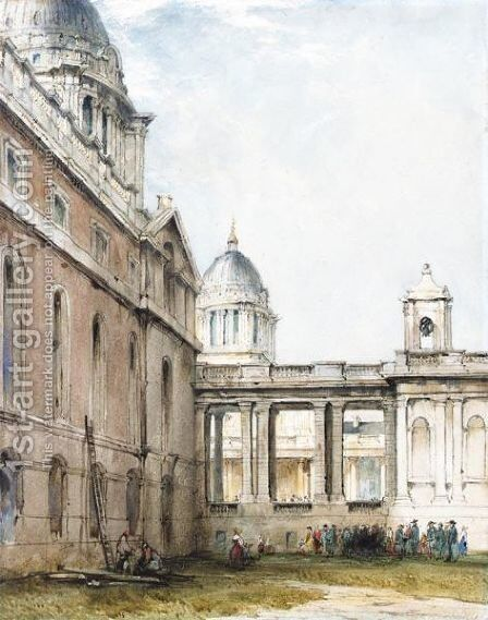 A Stonemason And Other Figures In The King William Courtyard, Greenwich Hospital by James Holland - Reproduction Oil Painting