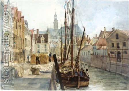 A Quay In Rotterdam by Alfred Gomersal Vickers - Reproduction Oil Painting