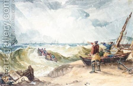Fishermen Rowing Out To Sea by Samuel Owen - Reproduction Oil Painting