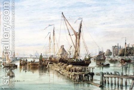 Passing The Booms, Amsterdam by Edward William Cooke - Reproduction Oil Painting