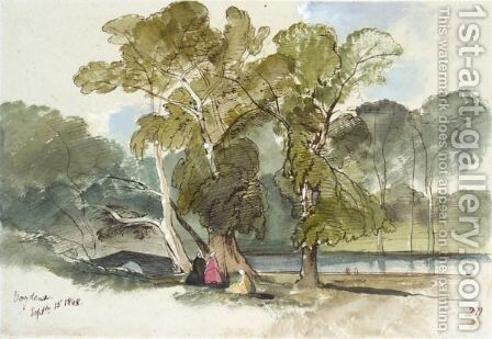 Figures Resting In A Shady Glade, Vodena, Greece by Edward Lear - Reproduction Oil Painting
