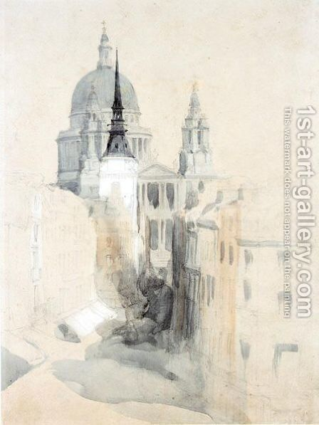 St Paul's Cathedral, London by David Roberts - Reproduction Oil Painting