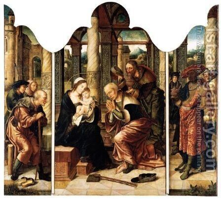 A Triptych The Adoration Of The Magi - Central Panel The Virgin And Child With Caspar And Melchior - Left Wing Saint Joseph With Two Shepherds - Right Wing Balthasar With Other Figures Behind by Antwerp School - Reproduction Oil Painting