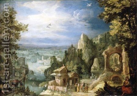 An Extensive Landscape With The Rest On The Flight Onto Egypt by Anton Mirou - Reproduction Oil Painting