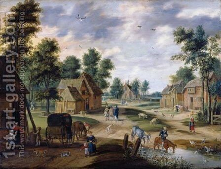 A Pastoral Landscape With A Farm 2 by Isaak van Oosten - Reproduction Oil Painting