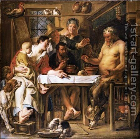 The Satyr And The Peasant 4 by (after) Jacob Jordaens - Reproduction Oil Painting