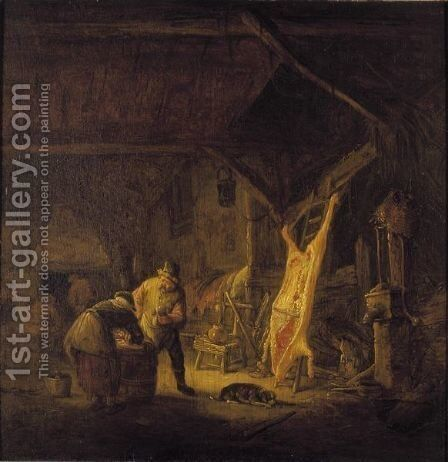 A Barn Interior With Peasants Standing Before A Hog Carcass, Other Figures Warming Themselves By A Fire Beyond by Isaack Jansz. van Ostade - Reproduction Oil Painting