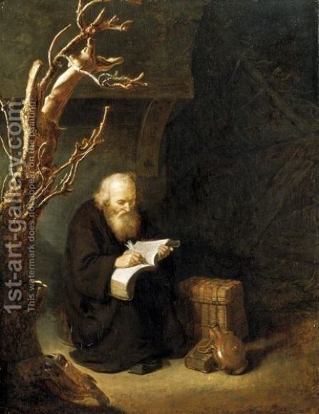 A Hermit Writing In His Book by Abraham de Pape - Reproduction Oil Painting