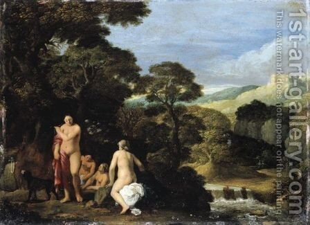 And Attributed To Cornelis Van Poelenburchutrecht 1594-5 - 1667diana And Her Nymphs In A Bosky Landscape Setting by Johann Konig - Reproduction Oil Painting