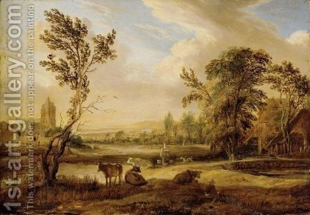 A Landscape With A Milkmaid And Cows, A Church Beyond by Aert van der Neer - Reproduction Oil Painting