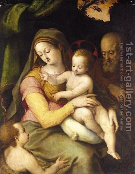 The Holy Family With The Infant Saint John The Baptist by (after) Bartolommeo Ramenghi The Elder, Il Bagnacavallo - Reproduction Oil Painting