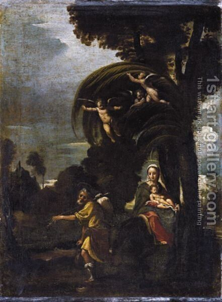 The Flight Into Egypt by Emilian School - Reproduction Oil Painting