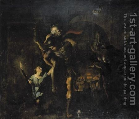 Aeneas Rescuing Anchises And Ascanius From The Sack Of Troy by Giovanni Lanfranco - Reproduction Oil Painting