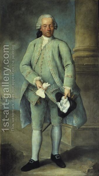 Portrait Of A Gentleman, Full-Length Standing, Wearing A Powder-Blue Costume And Holding A Tricorn Hat And Gloves, The Venetian Lagoon Beyond by Alessandro Longhi - Reproduction Oil Painting