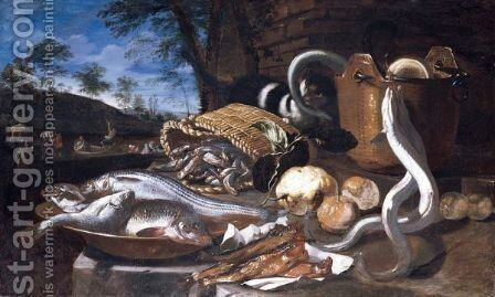 A Still Life With Various Fish In A Basket And Bowls, Eels, A Cat And Fruit, All Arranged Upon A Stone Platform, A Landscape With Fishermen Beyond by Giuseppe Recco - Reproduction Oil Painting