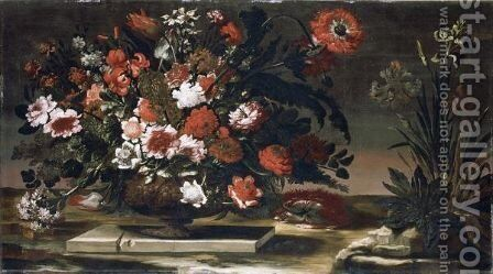 Still Life Of Flowers In A Brass Urn by Andrea Scacciati - Reproduction Oil Painting