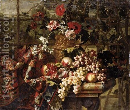 Still Life Of Various Flowers In A Bronze Urn, Together With Pomegranates, Grapes, Pears And Plums On A Marble Table Draped With A Carpet by Jean Baptiste Belin de Fontenay - Reproduction Oil Painting