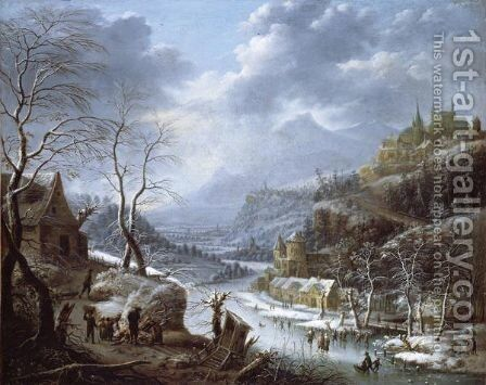 A Mountainous Winter Landscape With Skaters On A Frozen Lake by Johann Christian Vollerdt or Vollaert - Reproduction Oil Painting