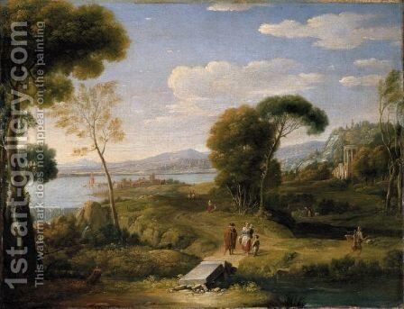 An Extensive Classical Landscape With Figures On A Road Before A Fortified Lakeside Town, A Temple Beyond by (after) Hendrik Frans Van Lint (Studio Lo) - Reproduction Oil Painting